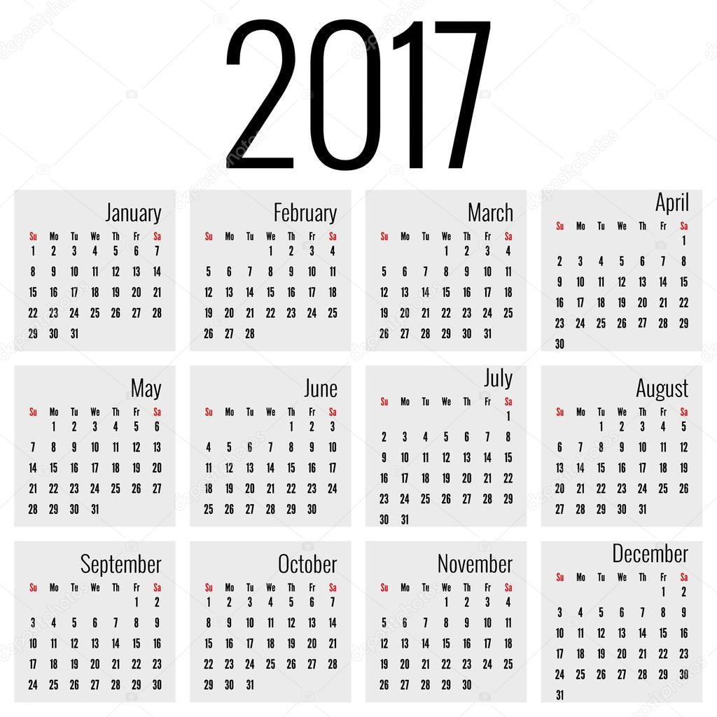 havi naptár Havi naptár 2017 — Stock Vektor © sumkinn #110783534 havi naptár