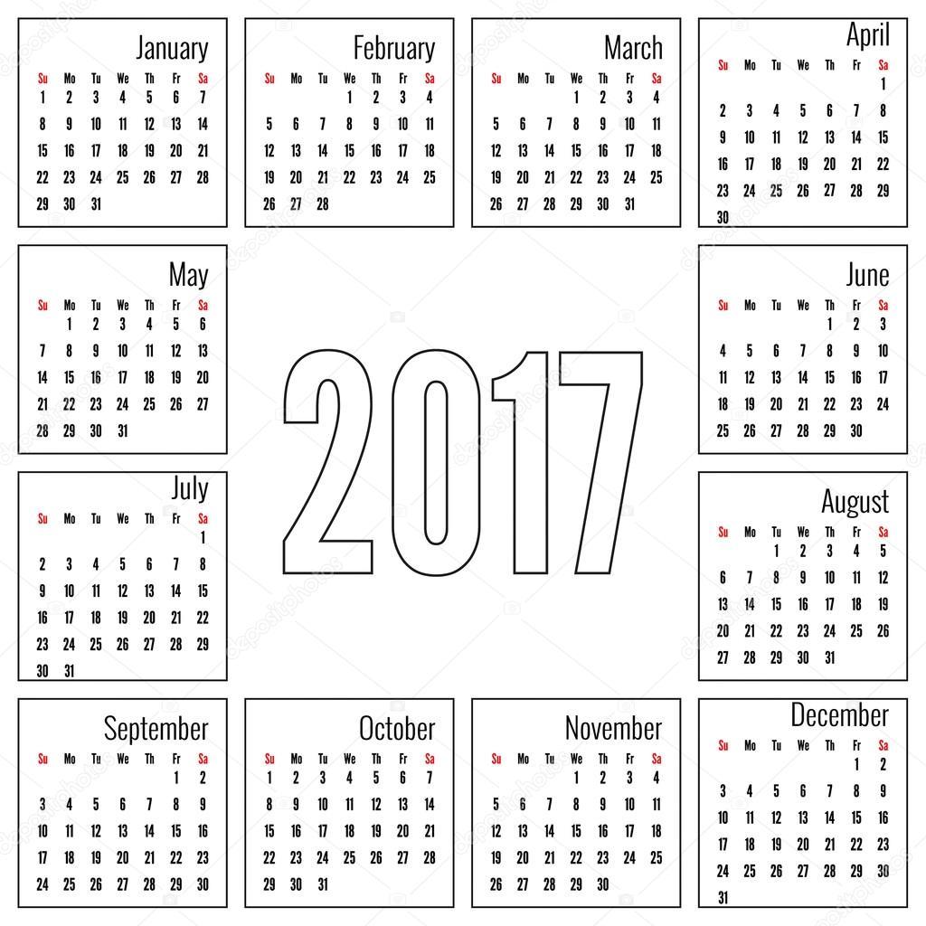 havi naptár Havi naptár 2017 — Stock Vektor © sumkinn #111622922 havi naptár