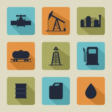 Set of vector icons with oil