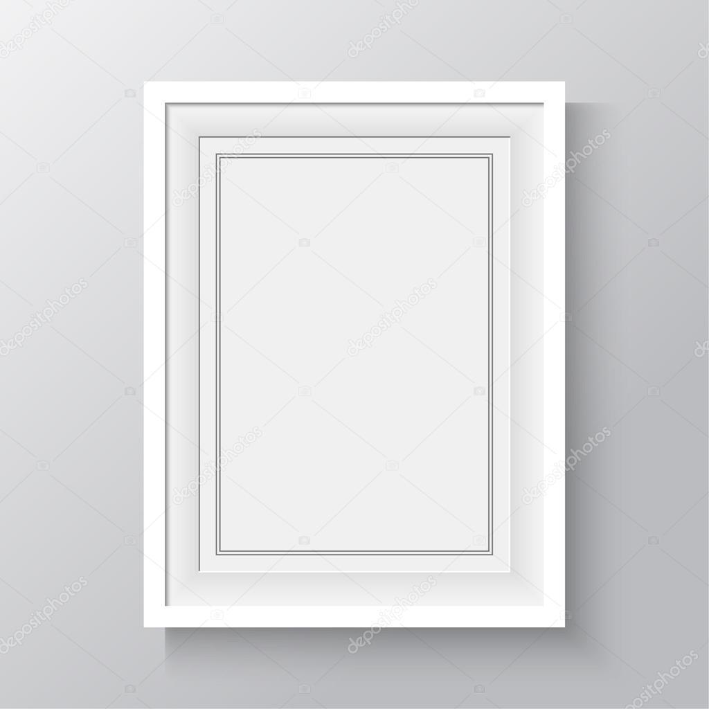 marco blanco para pinturas o fotografías en la pared — Archivo ...
