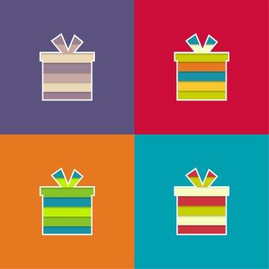 Set of multi-colored, bright gift