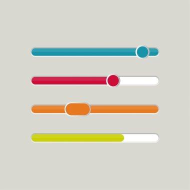 UI sliders set. Vector. downloaders,  progress bar and loading. for web sites and mobile app clip art vector