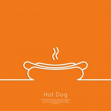 Hot Dog icon. Sausage grilled in a fresh bun. Outline. minimal. Advertising for fast food clip art vector