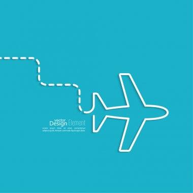 Icon airplane. the dashed line represents the movement and the way. speed airlines.  Outline. minimal stock vector