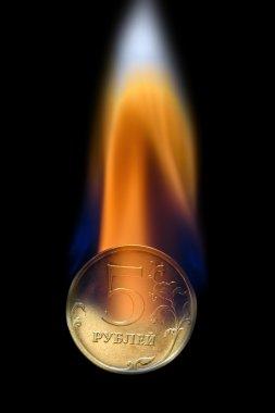 Beş ruble yarı-yangında sikke
