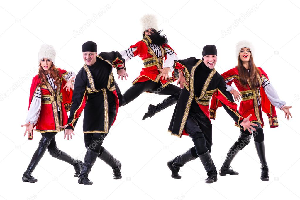 4c0217567 Dancer team wearing a folk Caucasian highlander costumes dancing. Isolated  on white background in full length.