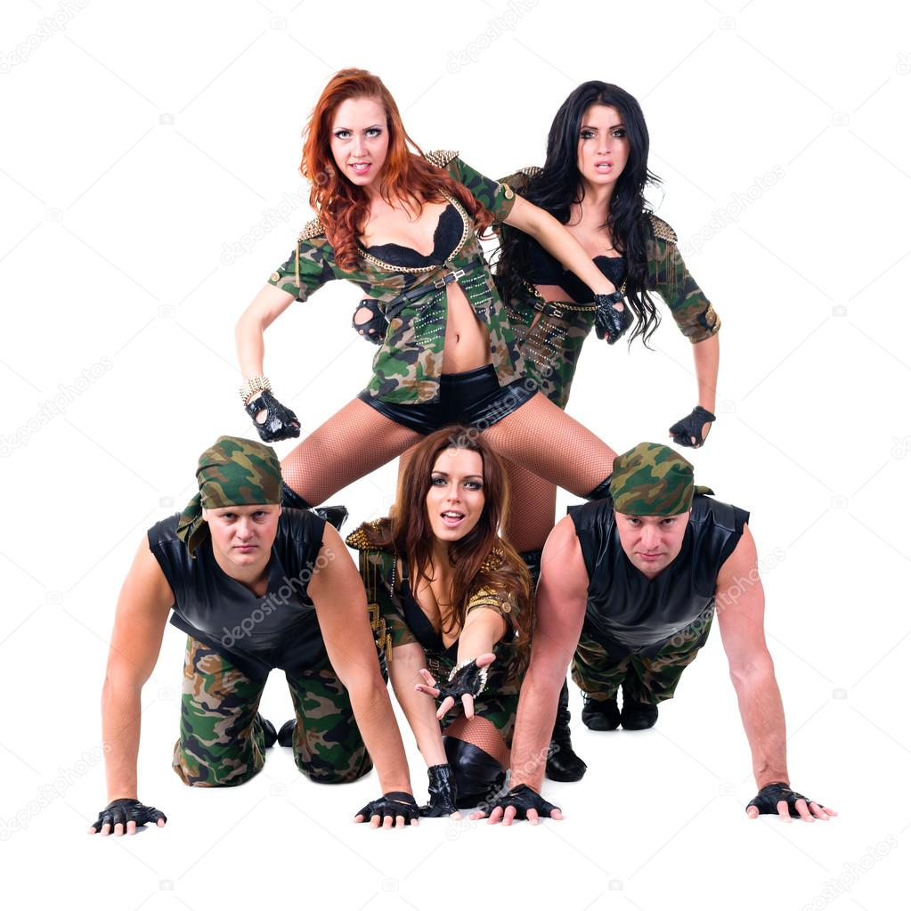 91277f4b0ff4 Similar Royalty-free Images: Military dancer team dressed in camouflage  costumes ...
