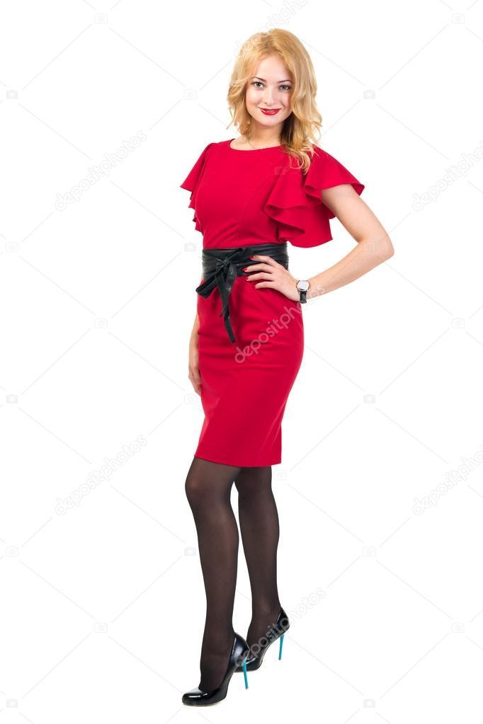 10175ab578e8d9 Mooie drukte vrouw Blonde in rode jurk geïsoleerd op wit — Stockfoto ...