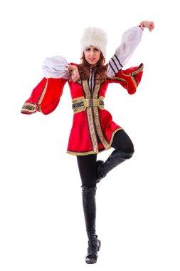 Handsome woman dancing lezginka