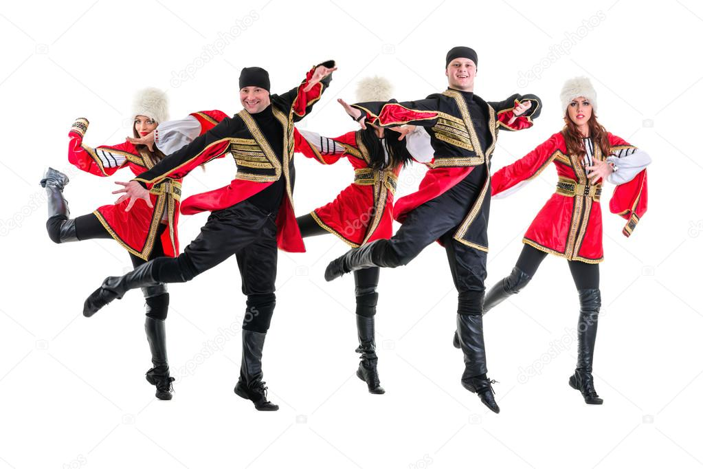 9d991feff Dancer team wearing a folk Caucasian highlander costumes dancing. Isolated  on white background in full length — Photo by stepstock