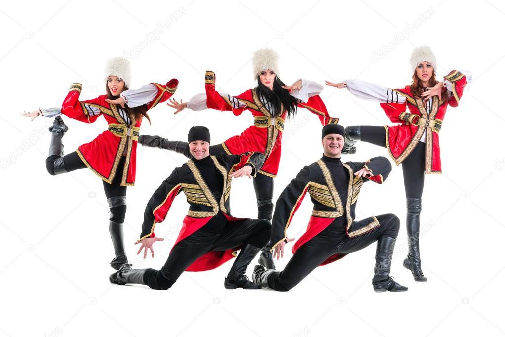 85d0914e6 Dancer team wearing a folk Caucasian highlander costumes dancing. Isolated  on white background in full length — Photo by ...