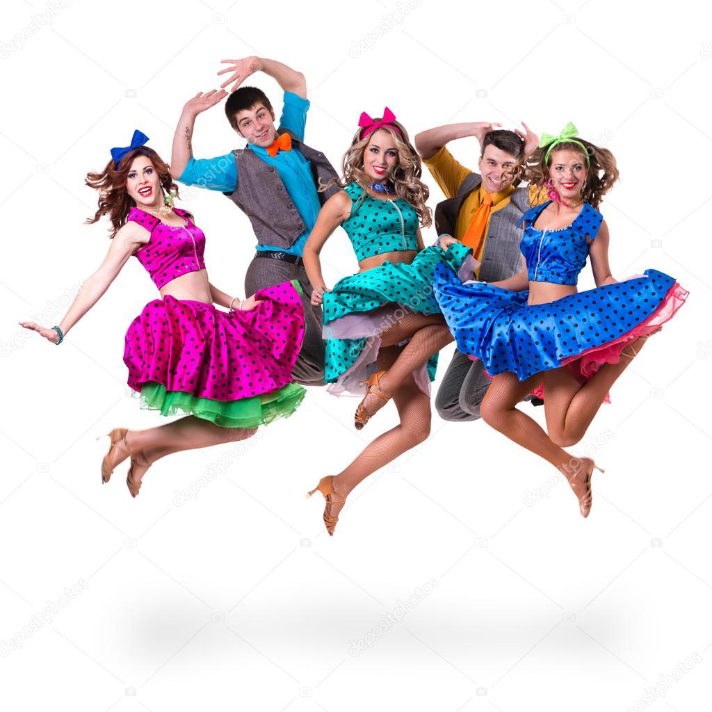 Cabaret dancer team jumping.  Isolated on white background in full length.