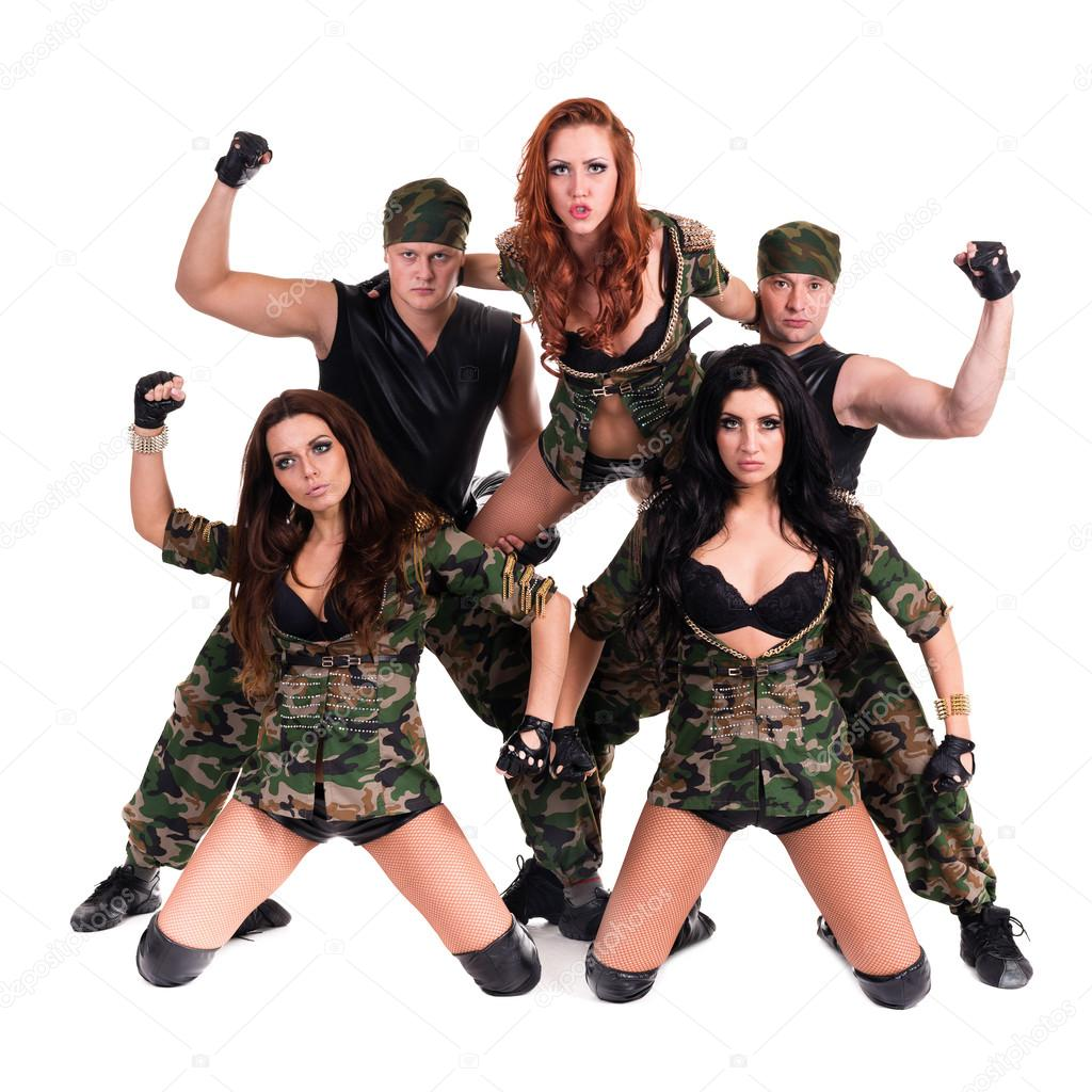 abb5c87c14cf Military dancer team dressed in camouflage costumes — Stock Photo · Dancers  in camouflage. Isolated on white background in full length — Photo by ...