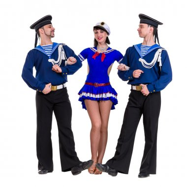 dancer team dressed as a sailors posing on an isolated white background