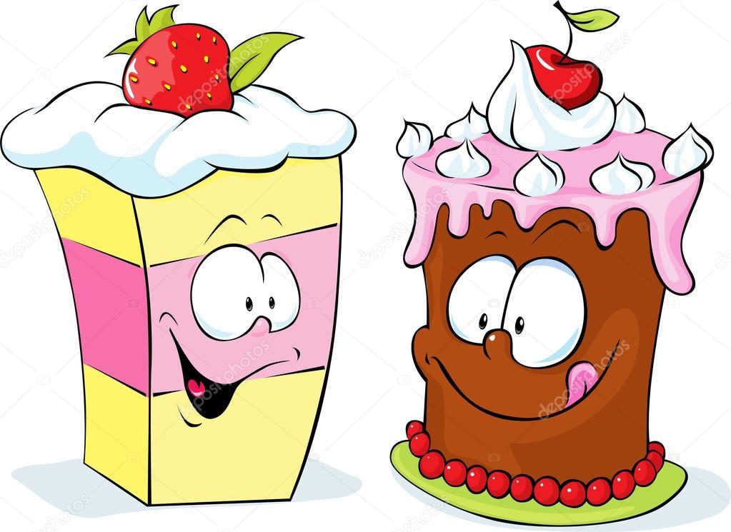 Lustige Erdbeere Und Kirsche Kuchen Vektor Illustration Isoliert