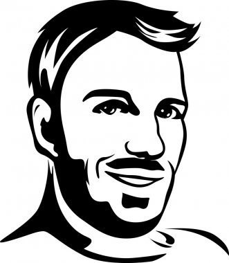 portrait of young man - black outline illustration
