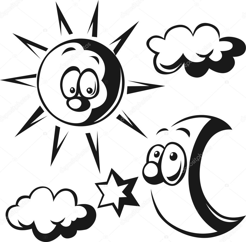 Güneş Ay Bulut Ve Star Siyah Anahat Illüstrasyon Stok Vektör