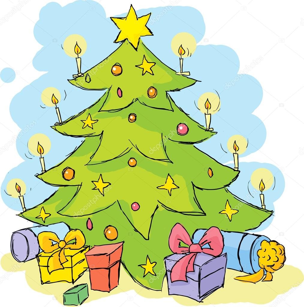 Christmas Tree Colorful Sketch Stock Vector C Hanaschwarz
