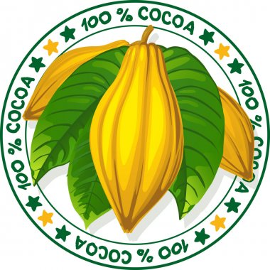 Cocoa fruit  - vector stamp