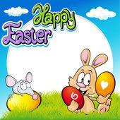 Velikonoční rám s bunny, myší a vejci