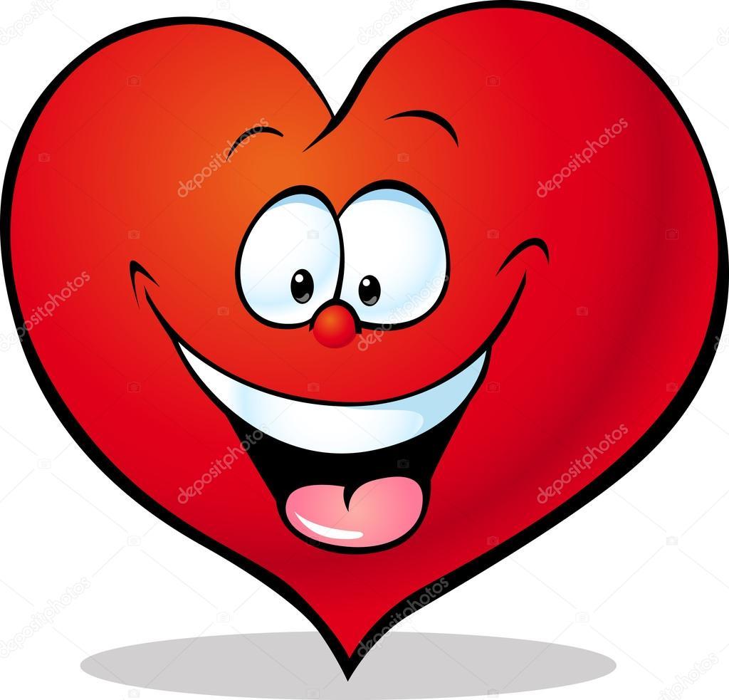 Cartone animato cuore rosso isolato su priorità bassa