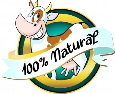 natural cow or milk label - vector