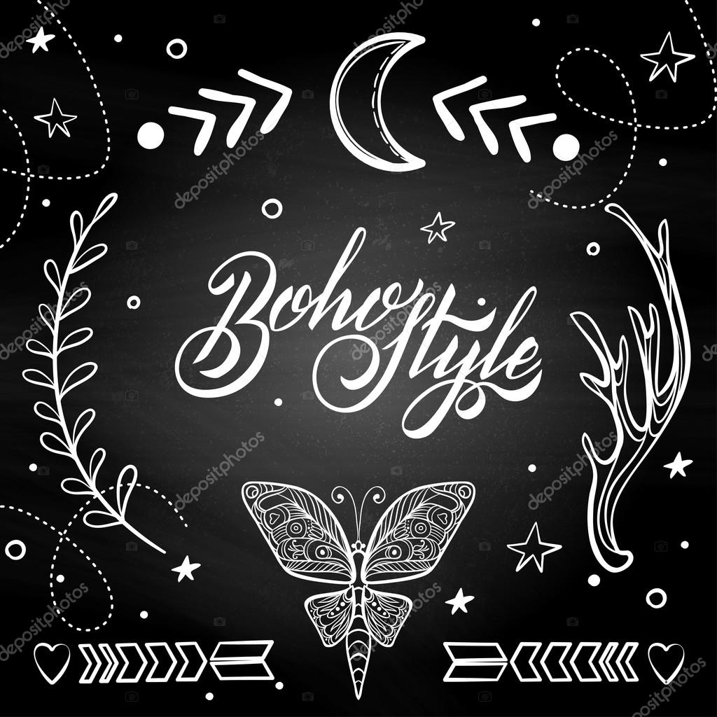 Vector Set Of Boho Style Elements Lettering Calligraphy Text Tattoo Template Trendy Hand Drawn