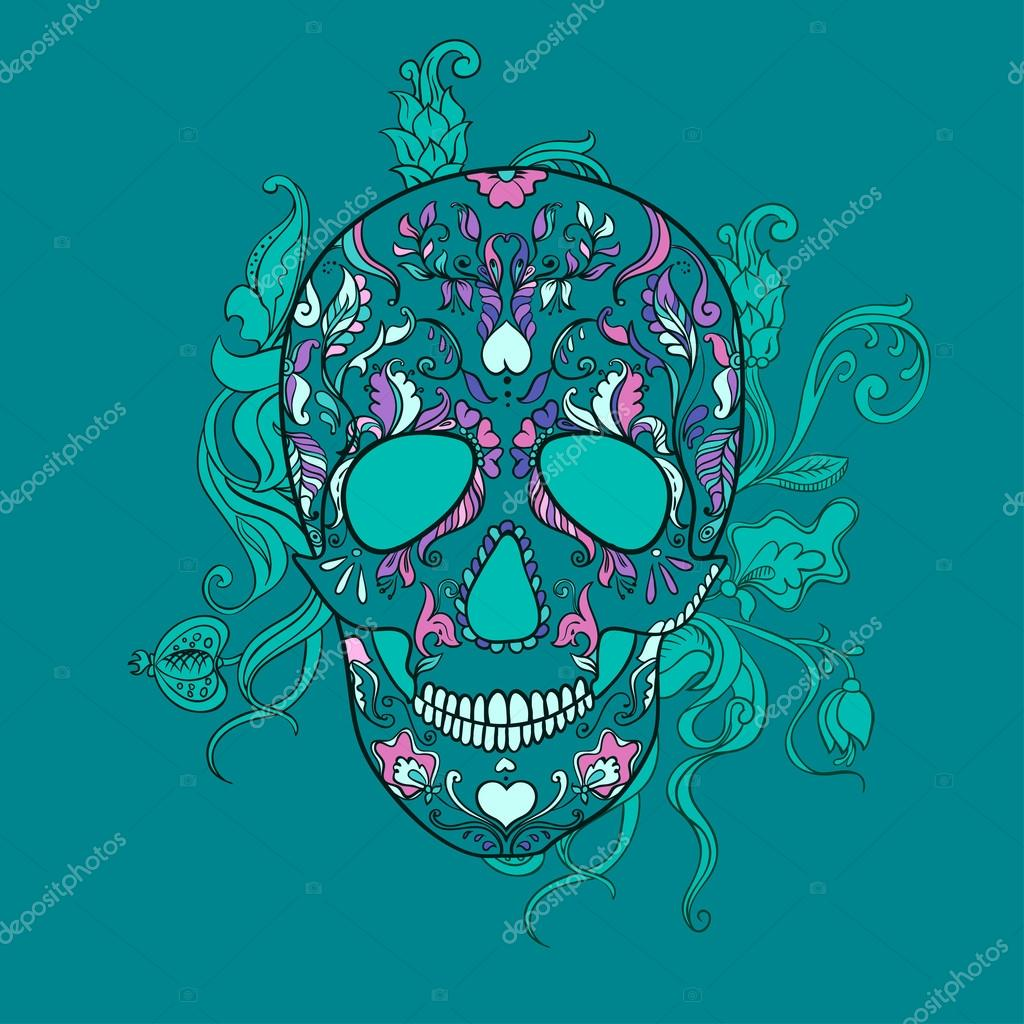 Vector Sugar Skull with ornament