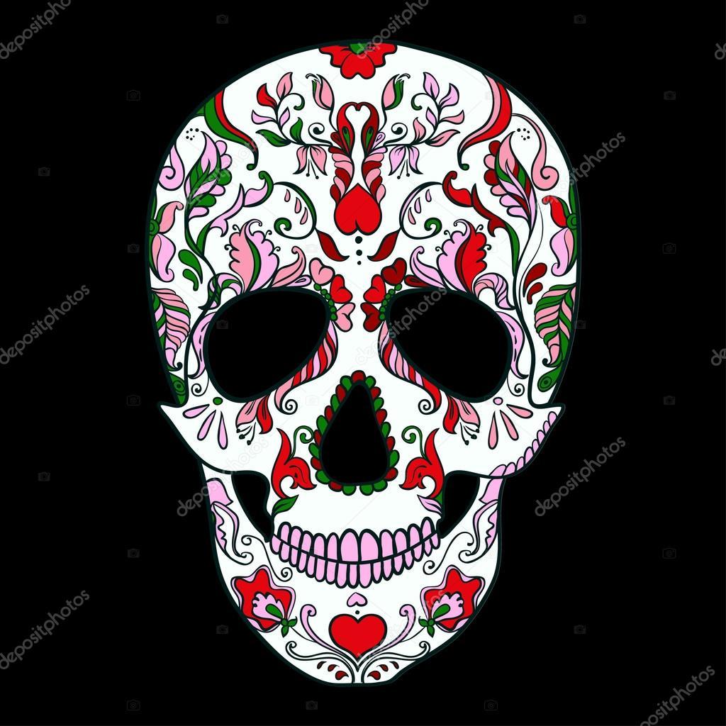 Vector Sugar Skull with ornament