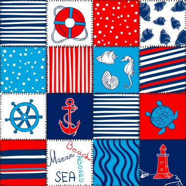 Vector Sea Seamless Pattern Patchwork