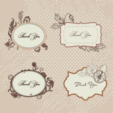 Vector Vintage frames. Scrapbooks tags