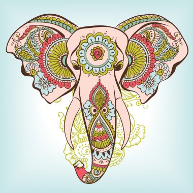 Vector Indian Decorative Elephant on the Henna Indian Ornaments stock vector