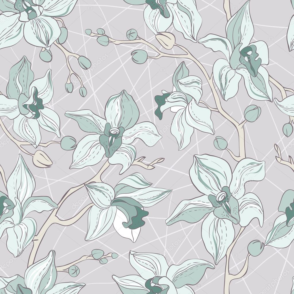 Vector Seamless Pattern consist of Orchids