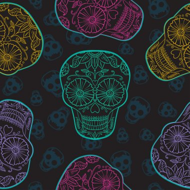 Vector Mexican  Skull Seamless pattern.
