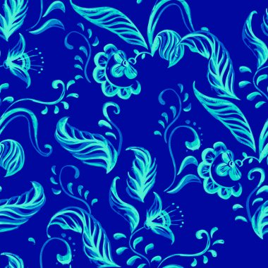 Vector Blue Seamless floral ornament pattern