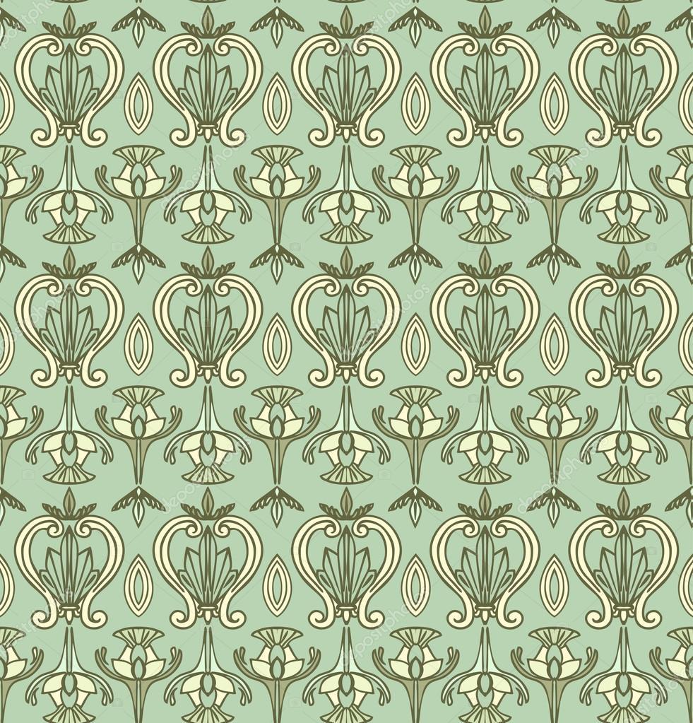 Seamless Art Nouveau Pattern Vintage Wallpaper Stock Photo