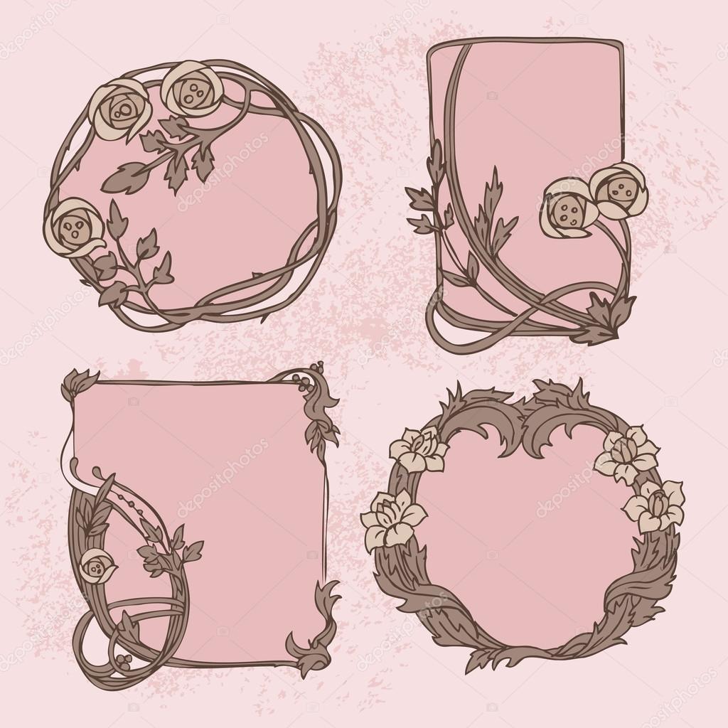 moderne art nouveau cadre ornement floral photographie freire 68332831. Black Bedroom Furniture Sets. Home Design Ideas