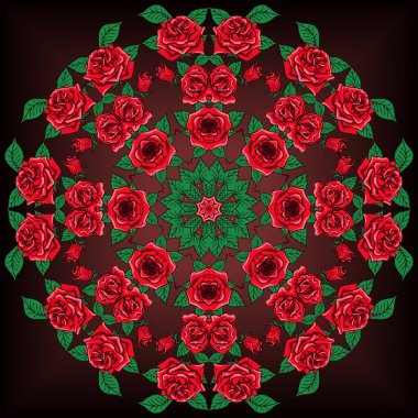 Beautiful Mandala Roses Background. Floral Seamless Pattern with many details
