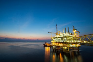 Production platform of oil and gas industry in offshore, The energy of the world, Construction platform in the sea.