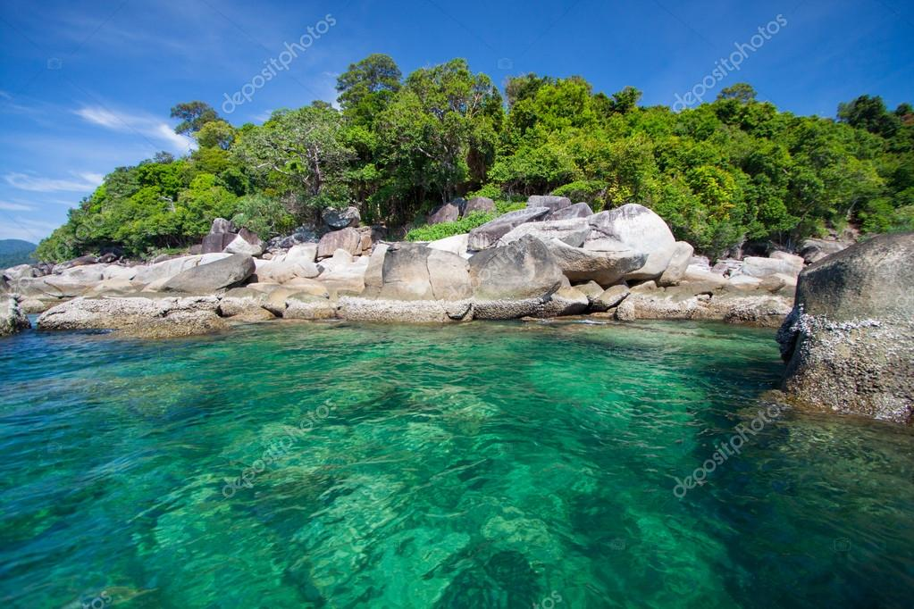 Aerial view of beautiful beach of Koh Lipe against blue sky in Satun, Thailand, Clear water and blue sky. Lipe island, Thailand.