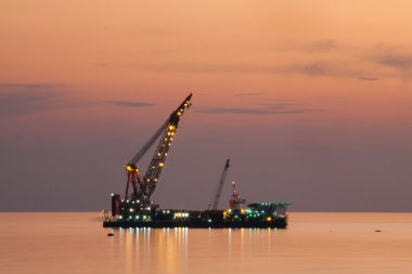 Oil and gas platform in the gulf or the sea, The world energy, Offshore oil and rig construction Platform for production oil and gas.