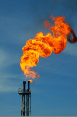 Burning the gas or oil at Flare station, Oil and gas construction