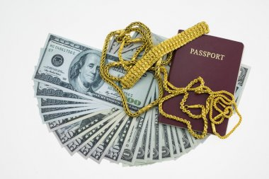 Banknotes and passport on white background, pocket money and prepare for travel.