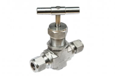 Manual ball valve or stainless steel ball valve isolated on white background, Valve for oil and gas process or high pressure process, Instrument supply equipment for control pressure or flowed in production process