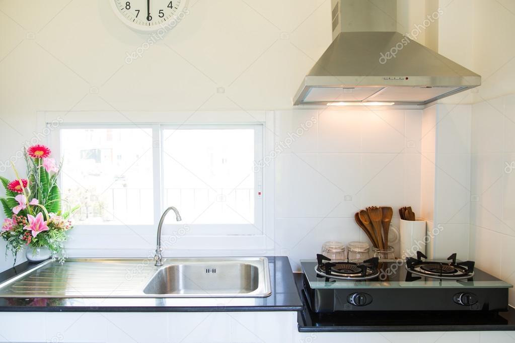 Nahaufnahme von den Gasherd in der Küche. Moderne Küche-Interieur ...