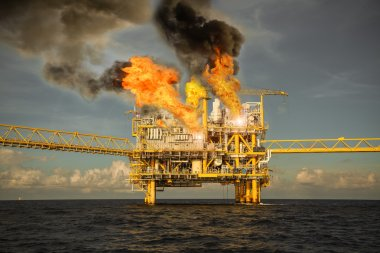 offshore oil and gas fire case or emergency case, firefighter operation to control fire on oil and gas production platform, offshore worst case and can't control fire, man overboard.