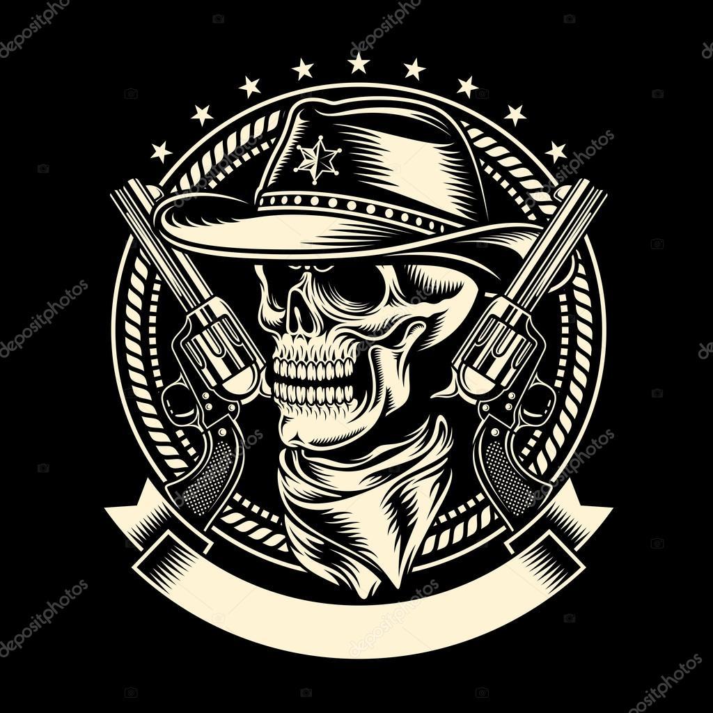 Biker Vest Patches >> Cowboy Skull with Handguns — Stock Vector © vectorfreak ...