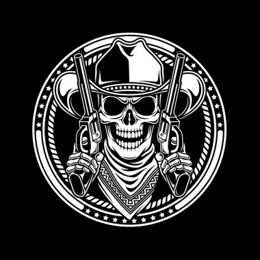 Fully editable vector illustration of cowboy skull hold guns on black background, image suitable for emblem, insignia, badge, crest, tattoo or graphic t-shirt stock vector