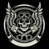 Vintage Biker Totenkopf mit Flügel und Kolben-Emblem