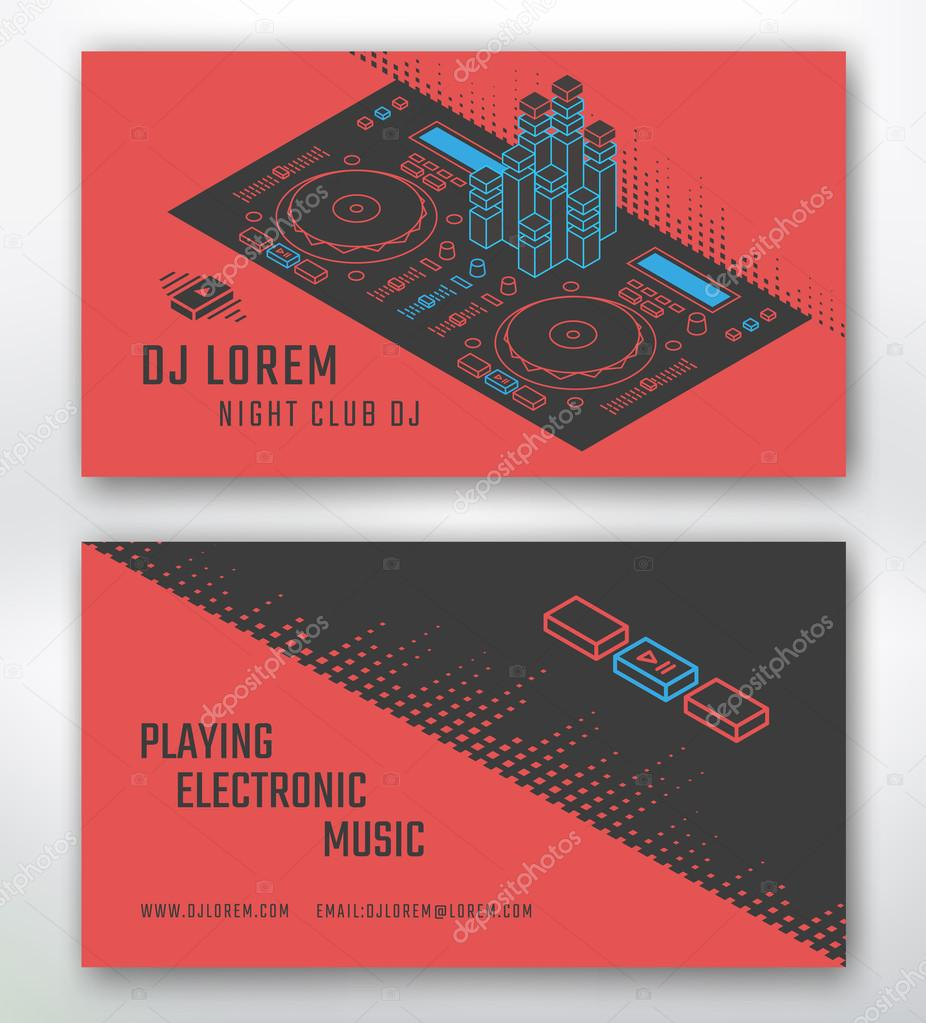 Carte De Visite Pour Studio Dj Ou Musique Boite Nuit Modele Vectoriel Illustration Isometrique Surface Controle DJ Vecteur Par